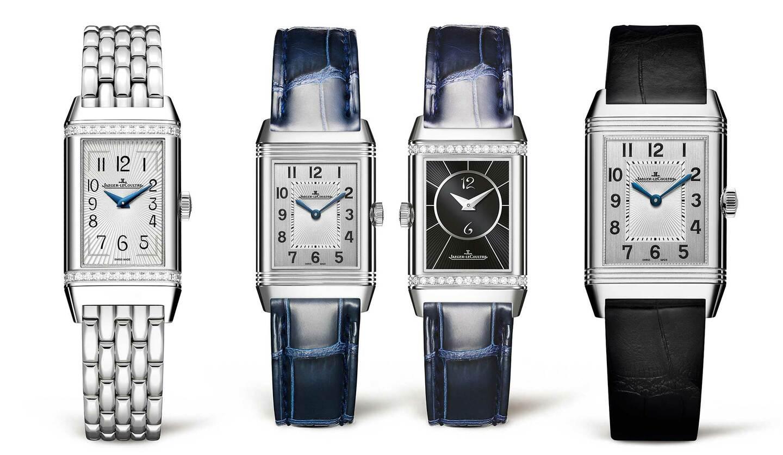 ジャガー・ルクルトの時計「レベルソ・ワン」(左)、「レベルソ・クラシック・スモール・デュエット」(中2本)、「レベルソ・クラシック・ミディアムスリム」(右)