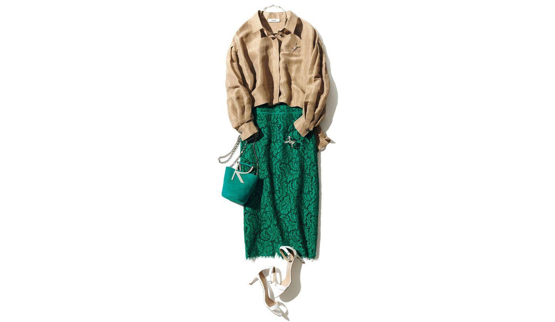 「濃いきれい色」エメラルドグリーンのコーディネート