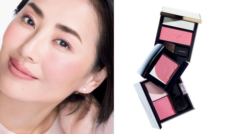 ピンクチークを使ったモデルカットと、アンプリチュード、カネボウ化粧品、カネボウインターナショナルの「ピンクチーク」