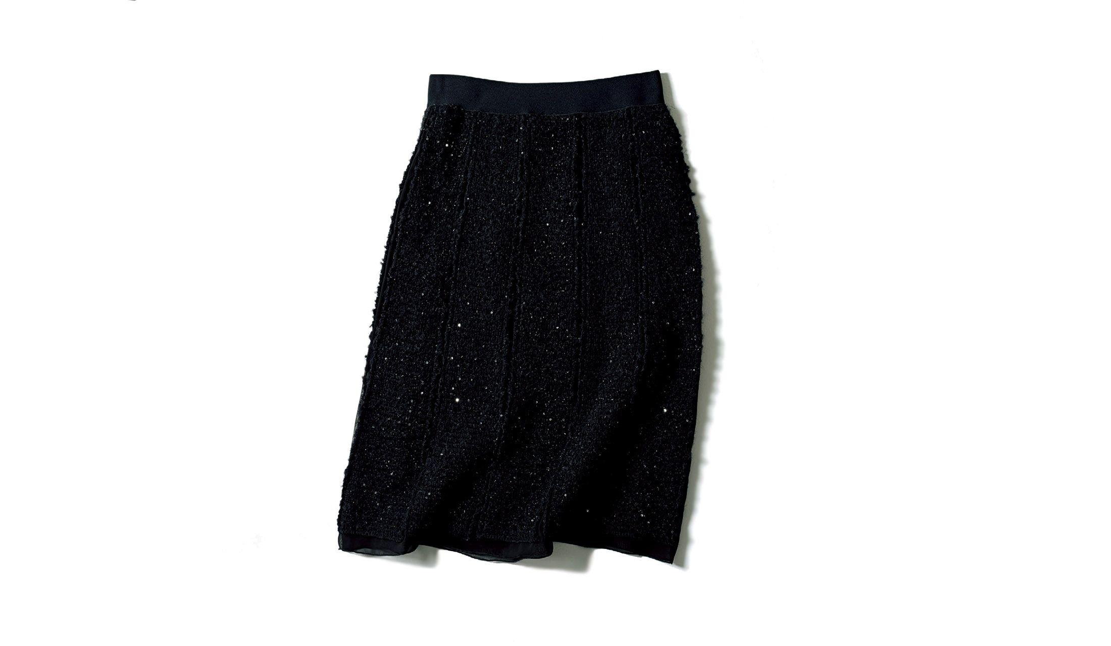 レ・コパンのシークインツイードのAラインスカート