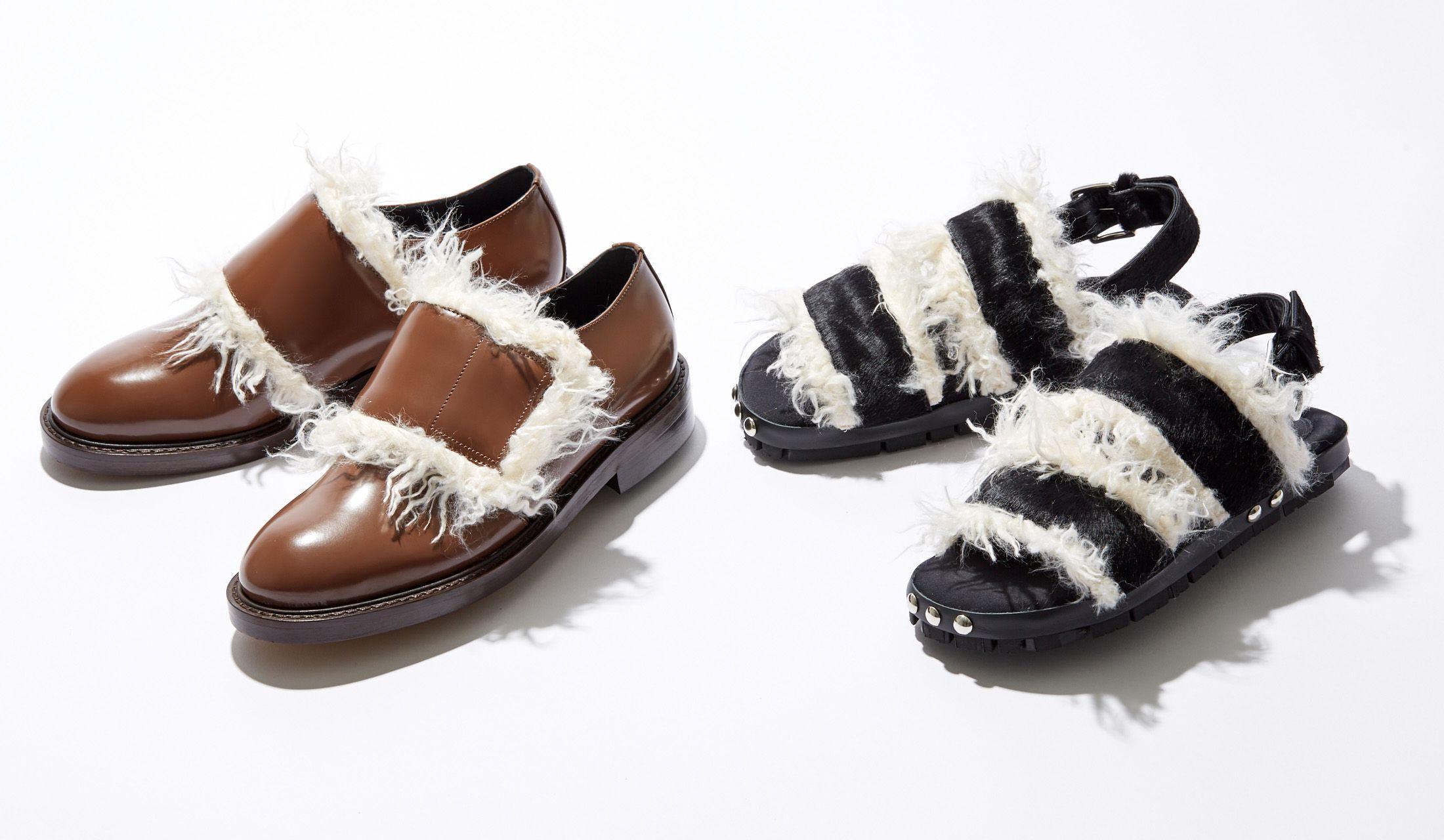 マルニのエコファー靴とサンダルの写真