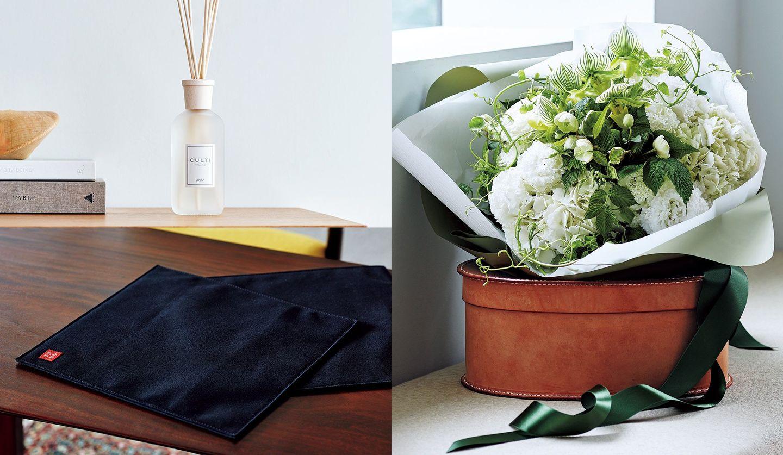行正り香さんおすすめの手土産(ブーケ、ルームフレグランス、折敷マット)の写真