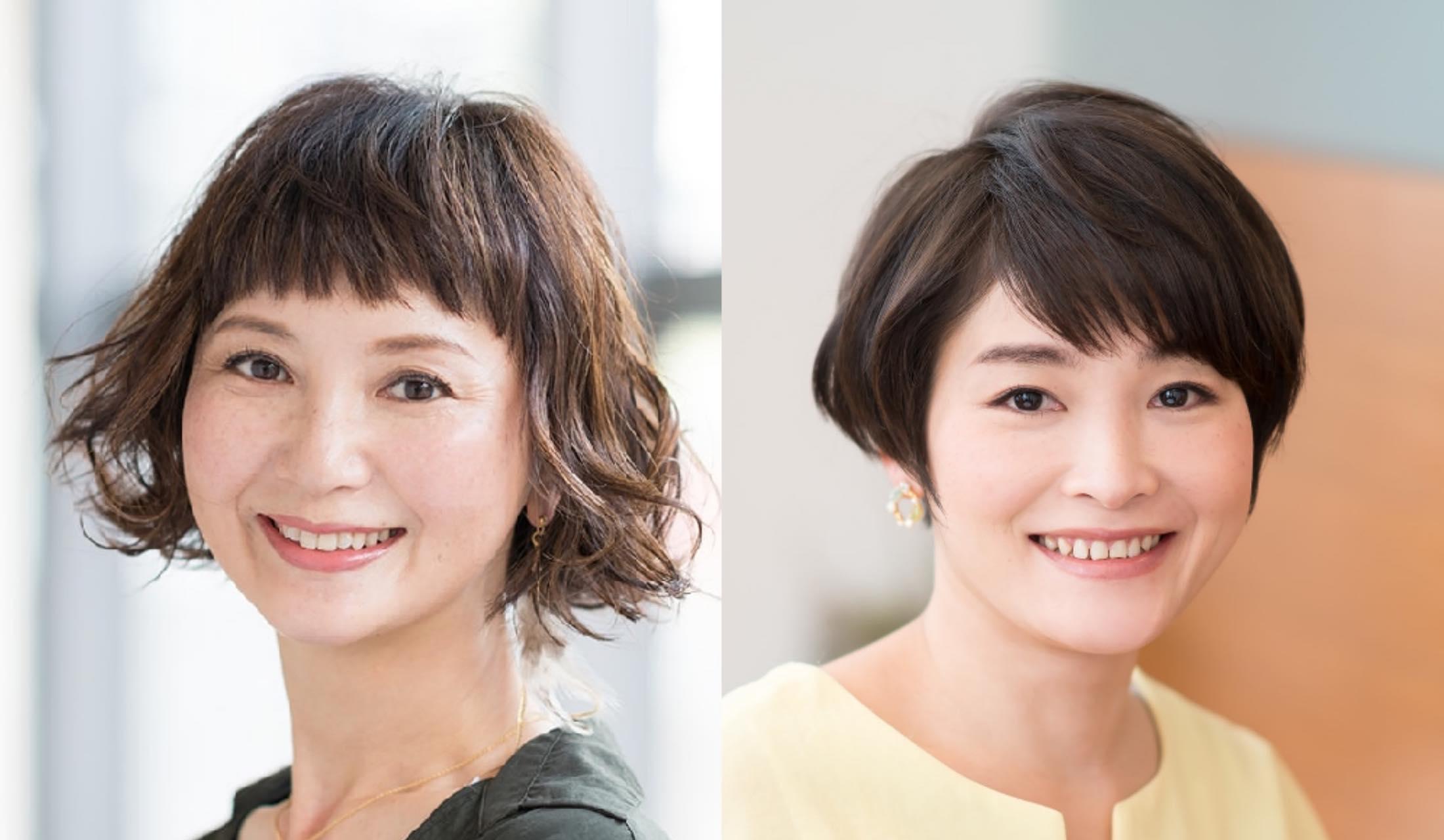 ショートヘアの女性の写真2枚