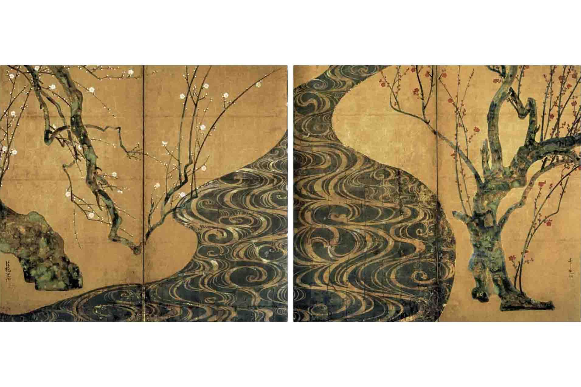 国宝 尾形光琳 『紅白梅図屏風』 江戸時代・18世紀 紙本金地着色 二曲一双 各156.0×172.2cm MOA美術館蔵
