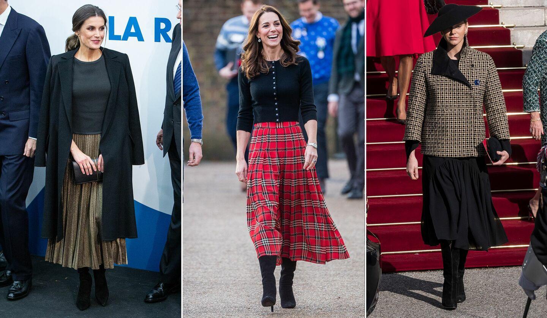 ロングブーツとロングスカートを組み合わせたコーディネートの王妃たち