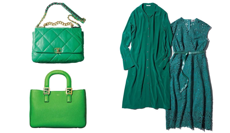 グリーンのバッグ2つとワンピース2枚