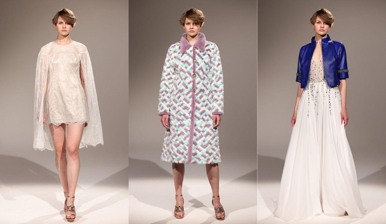 「CHIE IMAI(チエ イマイ)」の新コレクションを着た女性の写真。