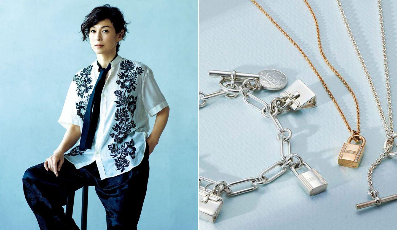 ジェンダーレススタイルを着こなす鈴木保奈美さん、「エルメス」のジュエリーコレクション『アミュレット』