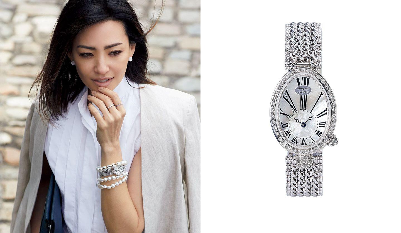 ブレゲの時計と、その時計を身に着けた女性の写真。