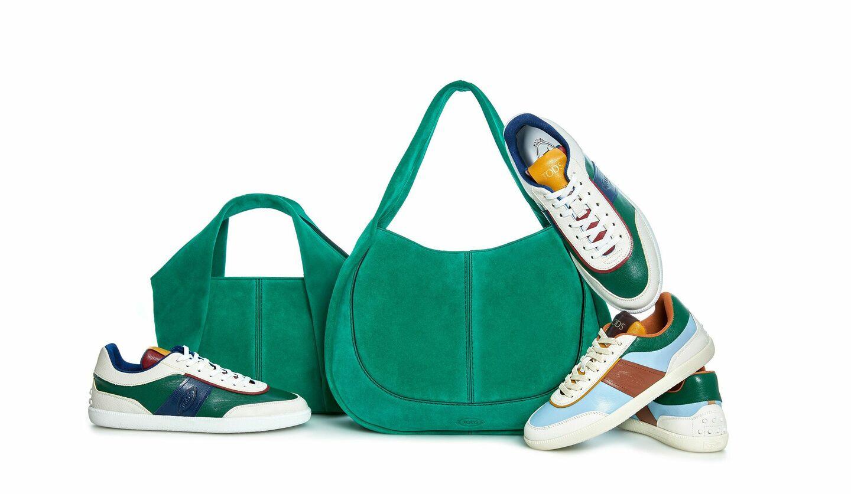 トッズ銀座1周年記念として発売される限定カラーのシャツバッグとスニーカー
