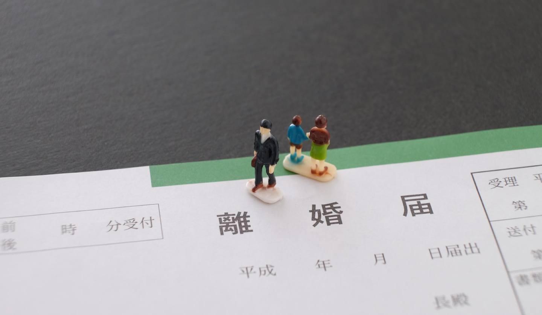 離婚届とその上の人形