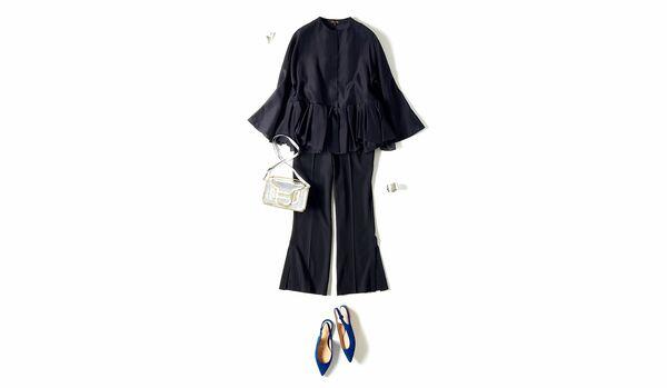 4/18 Sun|足元の鮮やかなブルーが目を引く、パンツのドレスアップ