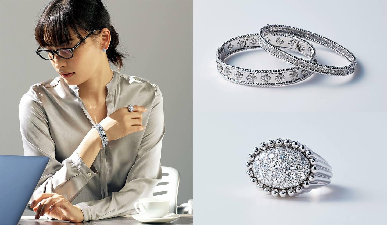 バングル(上から)ともに[WG×ダイヤモンド]¥2,352,000、¥2,784,000・リング[WG×ダイヤモンド]¥2,280,000・ピアス[WG×ダイヤモンド]¥1,272,000(ヴァン クリーフ&アーペル)、ブラウス¥49,000(チェルキ〈ソフィエ〉) 、その他/私物
