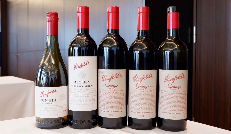 オーストラリアを代表するワインのブランド「ペンフォールズ」の「ビン311 シャルドネ 2017」・「ビン389 カベルネ・シラーズ 2016」・「グランジ 2015」・「グランジ 2014」・「グランジ 2005」