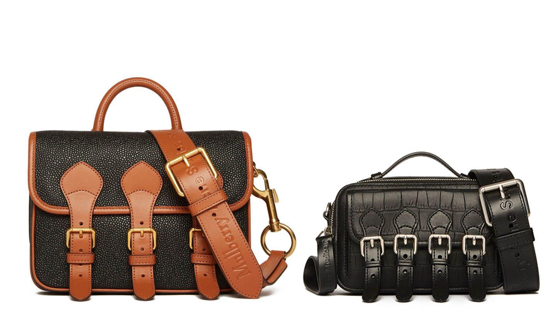 「マルベリー×アクネ ストゥディオズ」限定コレクションのバッグ「Messenger Scotchgrain」と「Mini Cross Body Messenger」