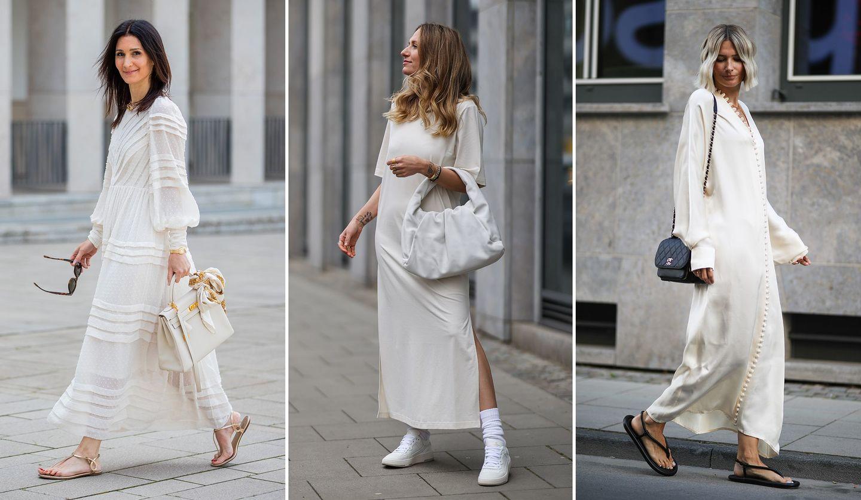 白のワンピースを着ているゴレスターネ・メイヤー=ウルナー、ミチ・ブランドン、カトリン・ボンマン