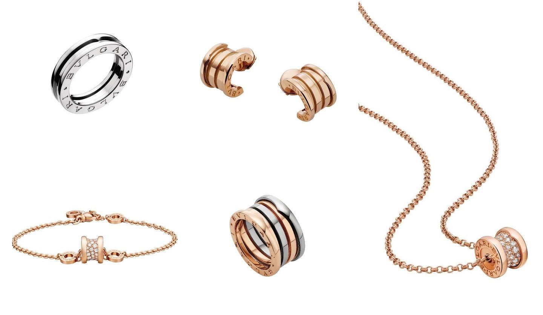 ブルガリの人気コレクション「ビー・ゼロワン」のリング、イヤリング、ネックレスの写真