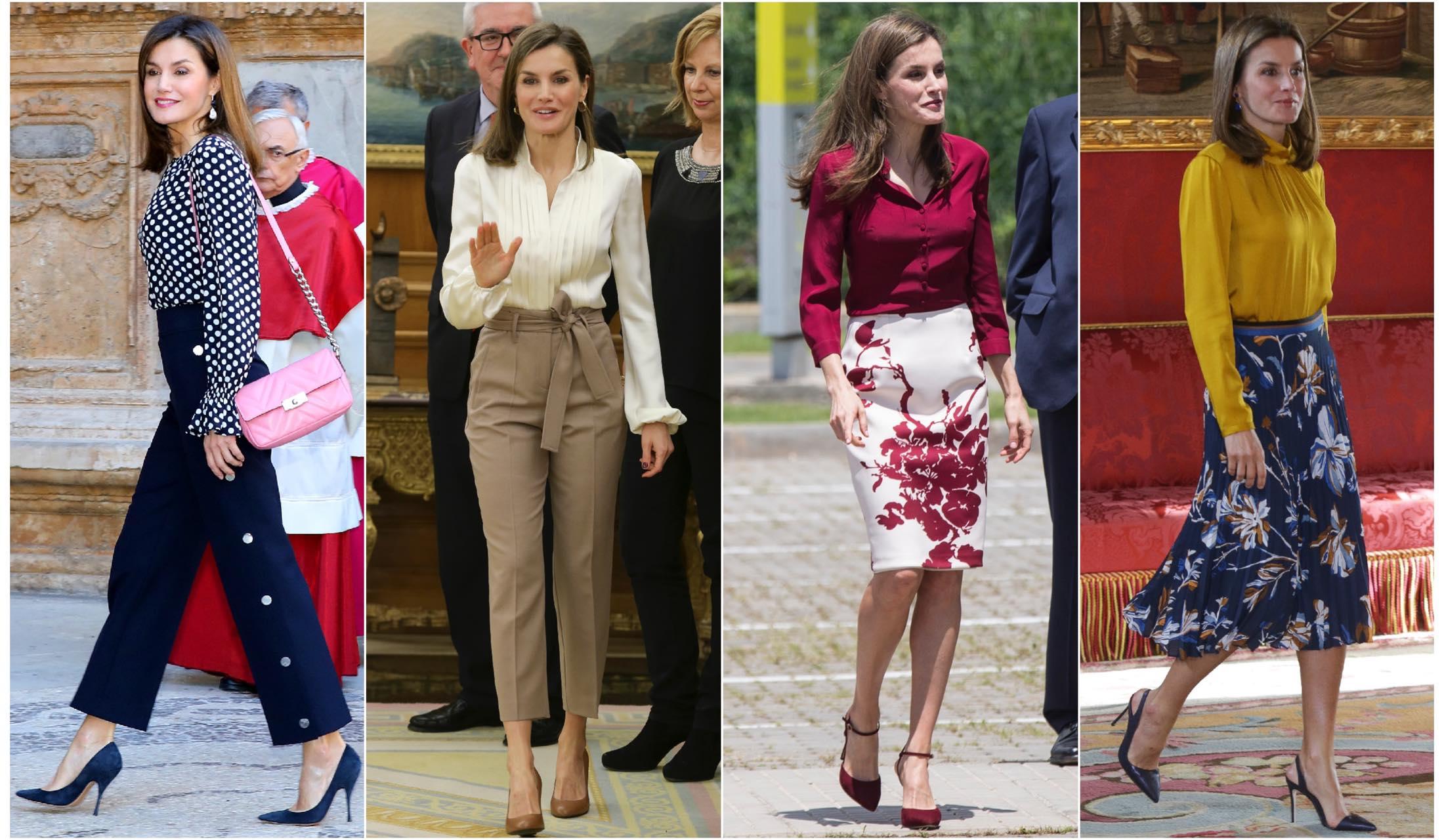 ブラウスをきたスペインのレティシア王妃の着こなしスナップ写真