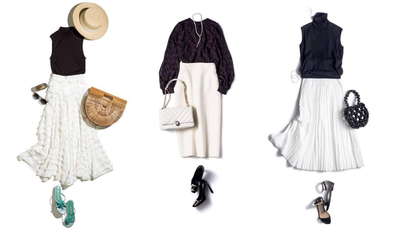 ロング・タイトなど、40~50代からの白スカートの着こなし集