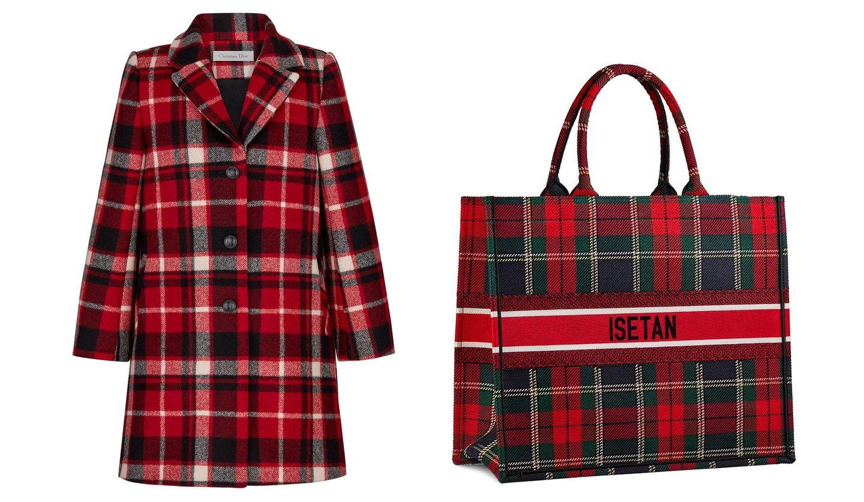 DIOR(ディオール)のコート「チェックン ディオール」とバッグ「ブック トート スモール」