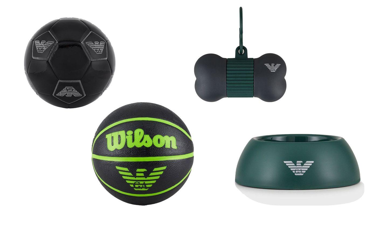 アルマーニのサッカーボール、バスケットボール、ドッグボール、トリートディスペンサー