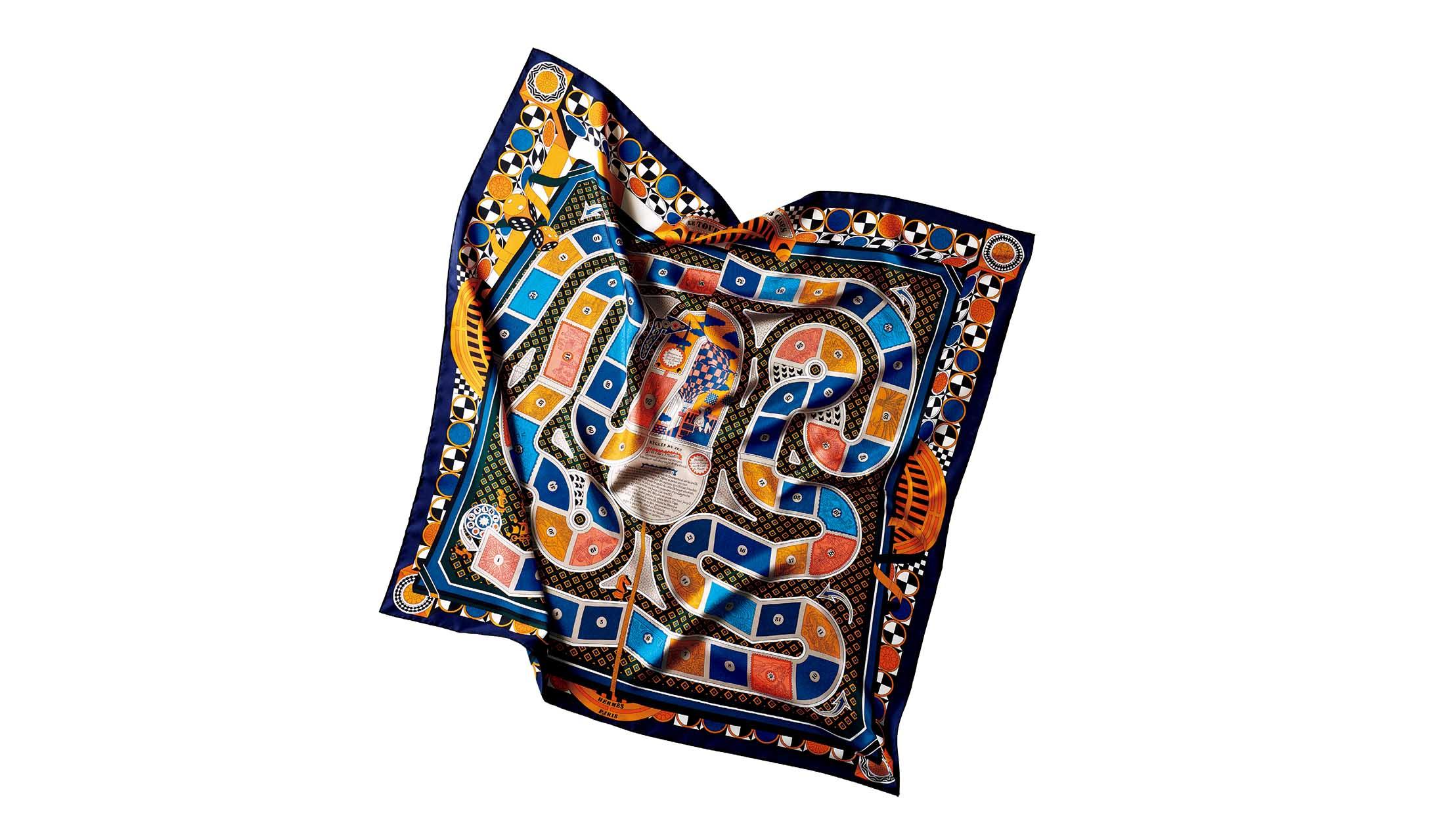 エルメスのスカーフ「カレ 90『63マスの世界旅行』」