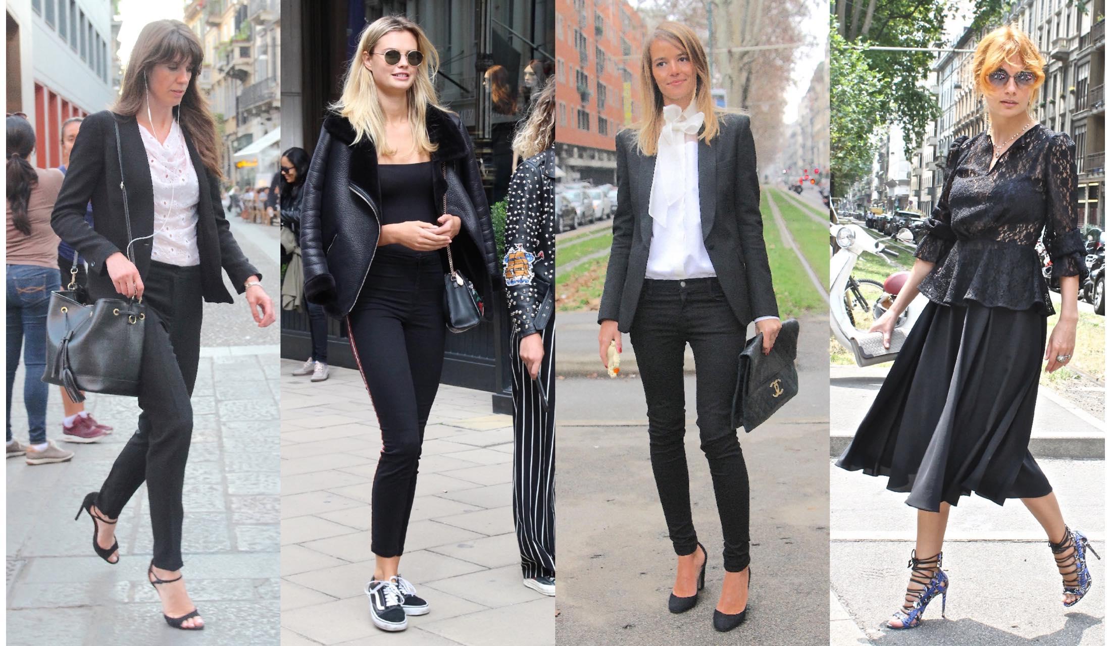 ブラックスタイルを素敵に着こなすミラノマダムたちのストリートスナップ写真