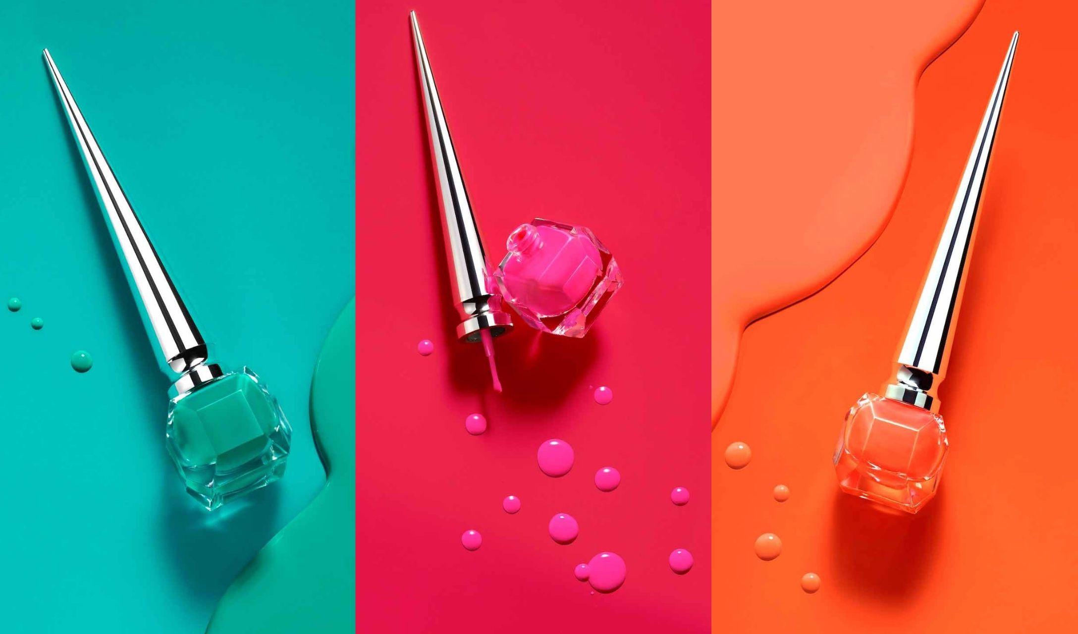 クリスチャン ルブタンの数量限定ネオンカラーのネイルカラー3色ピンク、オレンジ、グリーン