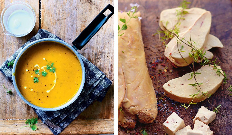 「滑らかな人参・ポロネギ・玉ネギ・ジャガイモのスープ」と「フランス南西部産 フォアグラ(加熱用)」、「フランス南西部産 フォアグラのスライス(ソテー用)」