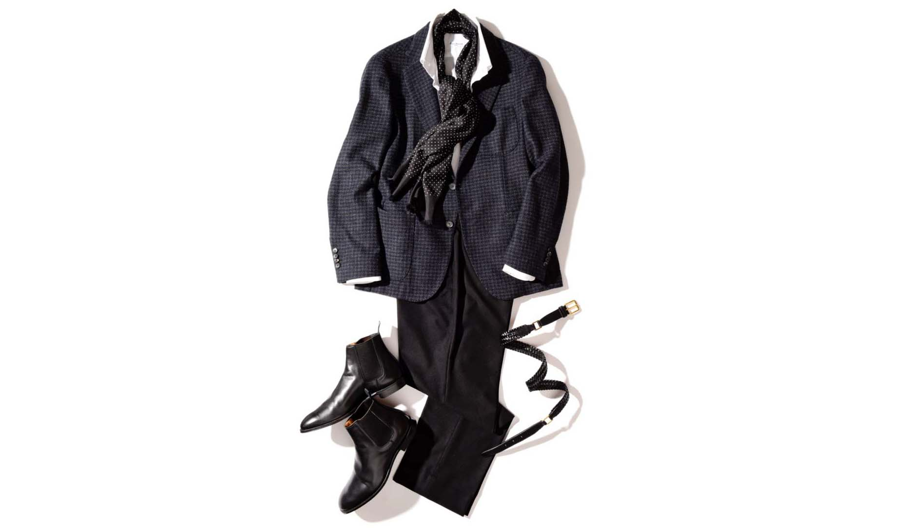 「マルセル ラサンス」のジャケットを使ったフレンチスタイルのコーディネート