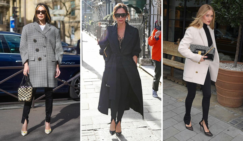黒のスリットパンツをはいたブリタニー・グザビエ、ヴィクトリア・ベッカム、ロージー・ハンティントン=ホワイトリー