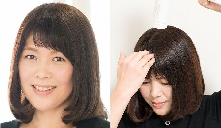 前髪で眉間のシワをカバーする女性