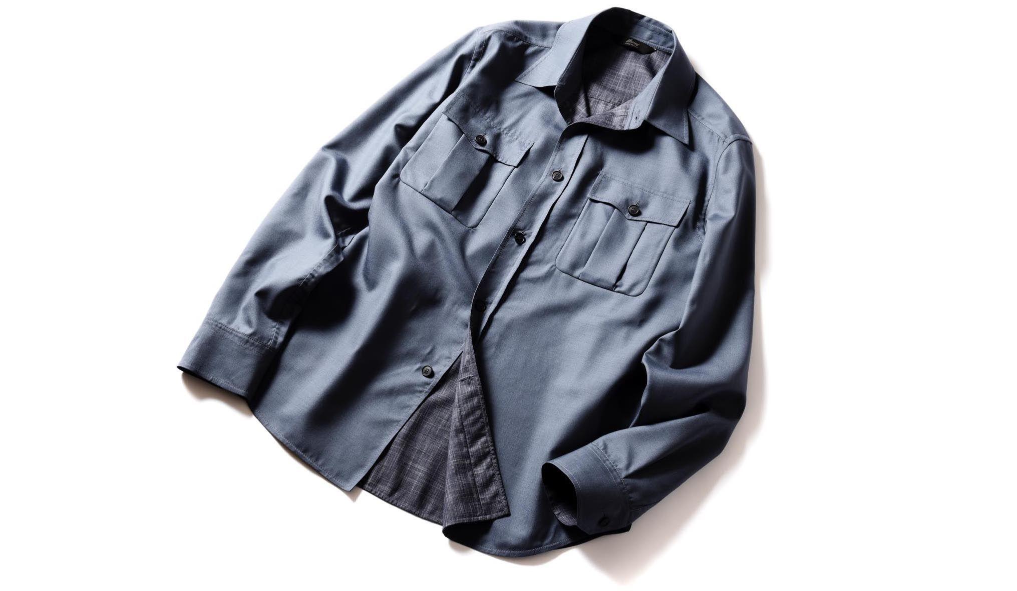 ブリオーニのウール&シルク素材のダブルフェイスシャツ