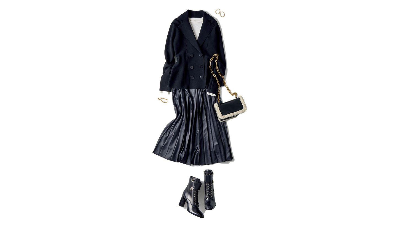 ニットジャケットと艶スカートのコーデ