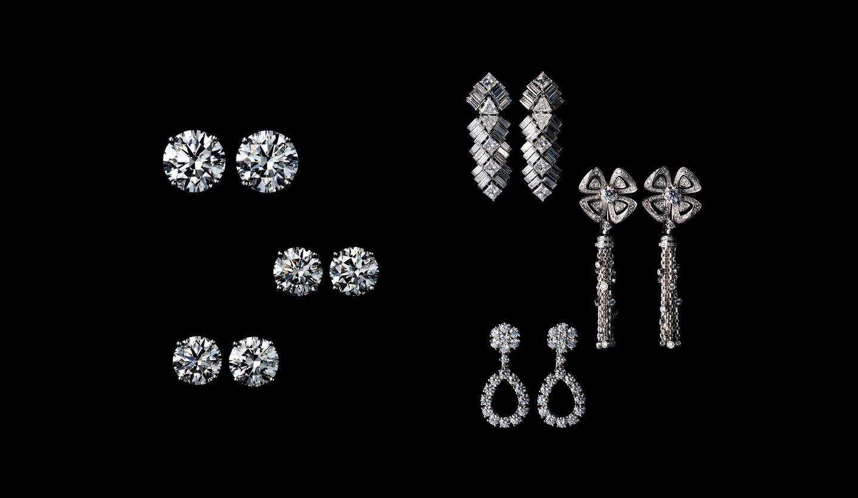カルティエ(Cartier)、ティファニー(Tiffany & Co.)、グラフ(GRAFF)、ブルガリ(BVLGARI)、ショパール(Chopard)のイヤリング