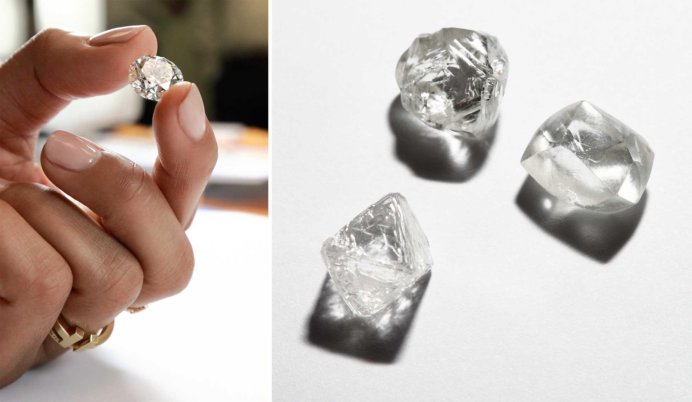 ティファニーのダイヤモンド原石を持つ手とダイヤモンド原石