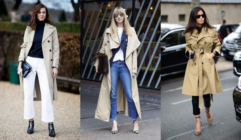 トレンチコートを着こなす女性たちの写真