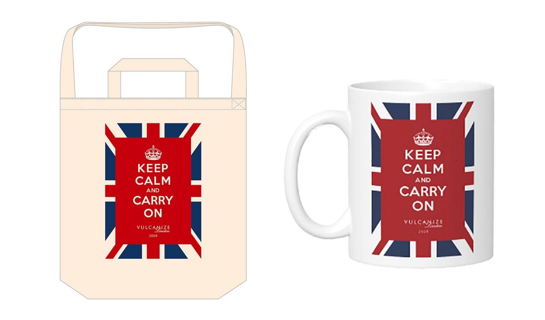 ヴァルカナイズ・ロンドンが実施している「KEEP CALM AND CARRY ON」キャンペーンで販売されているマグカップ