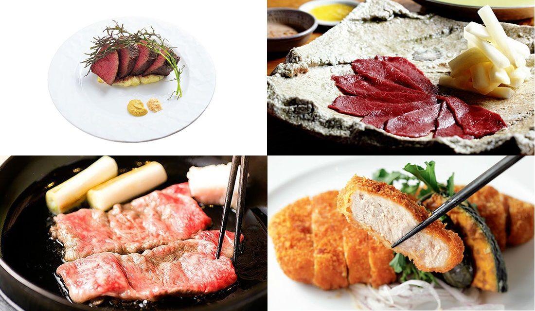 お肉の写真が4枚並んでいるところ