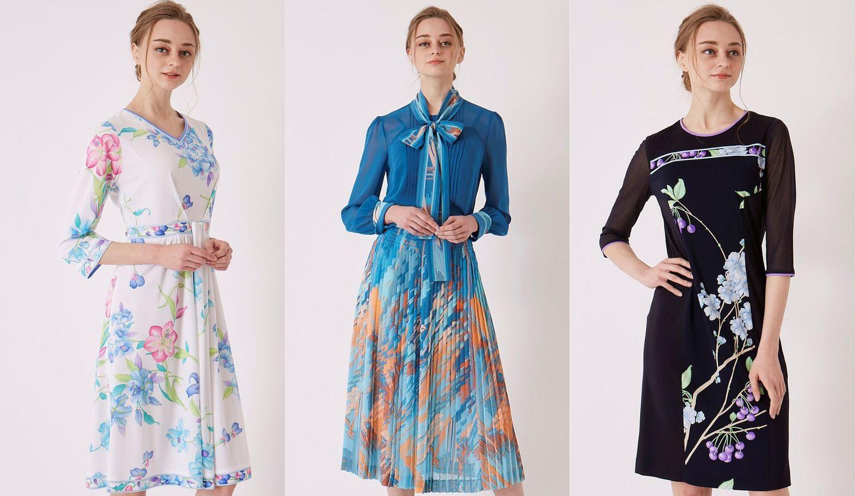 レオナールの2020年春の新作、パームツリー柄のブラウスとスカートを着たモデル
