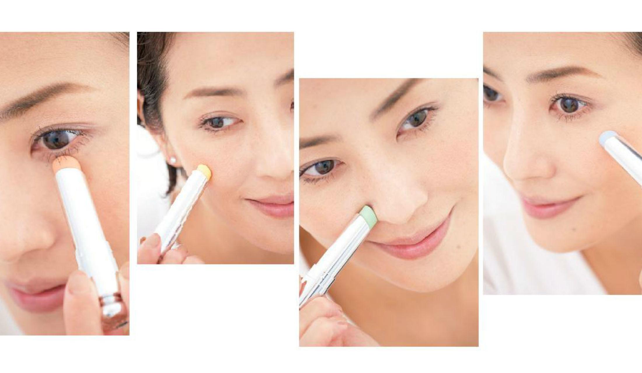コンシーラーを顔の様々な場所に当てているモデル・真樹麗子の顔4つ