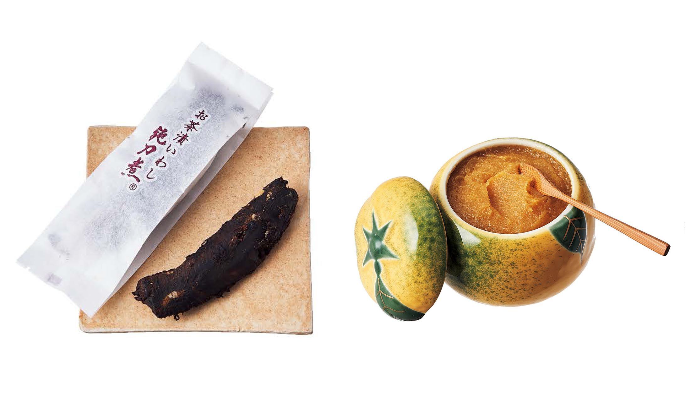 京の六味のお茶漬けいわし「鈍刀煮」と八百三の柚味噌