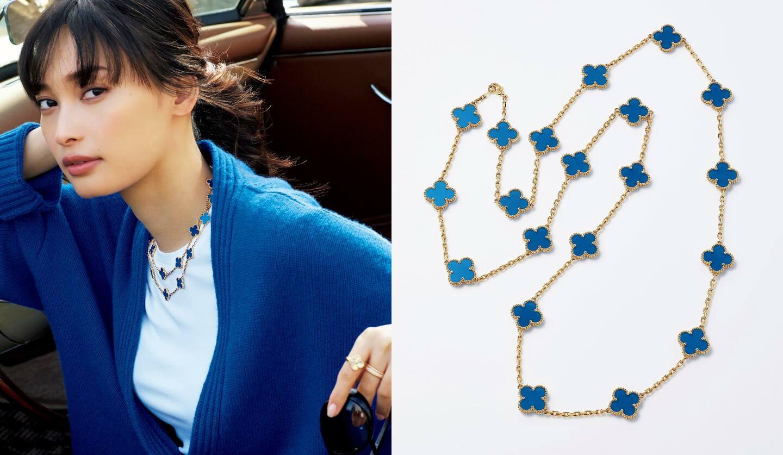 リング[YG]¥350,000・リング[RG×ダイヤモンド]¥755,000・ネックレス[YG×ブルーアゲート、長さ84cm]¥1,788,000(ヴァン クリーフ&アーペル)、カーディガン¥47,000・Tシャツ¥18,000(コロネット〈アバティ〉)