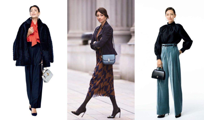 黒パンプスを履いたモデルのRINAによる3スタイル