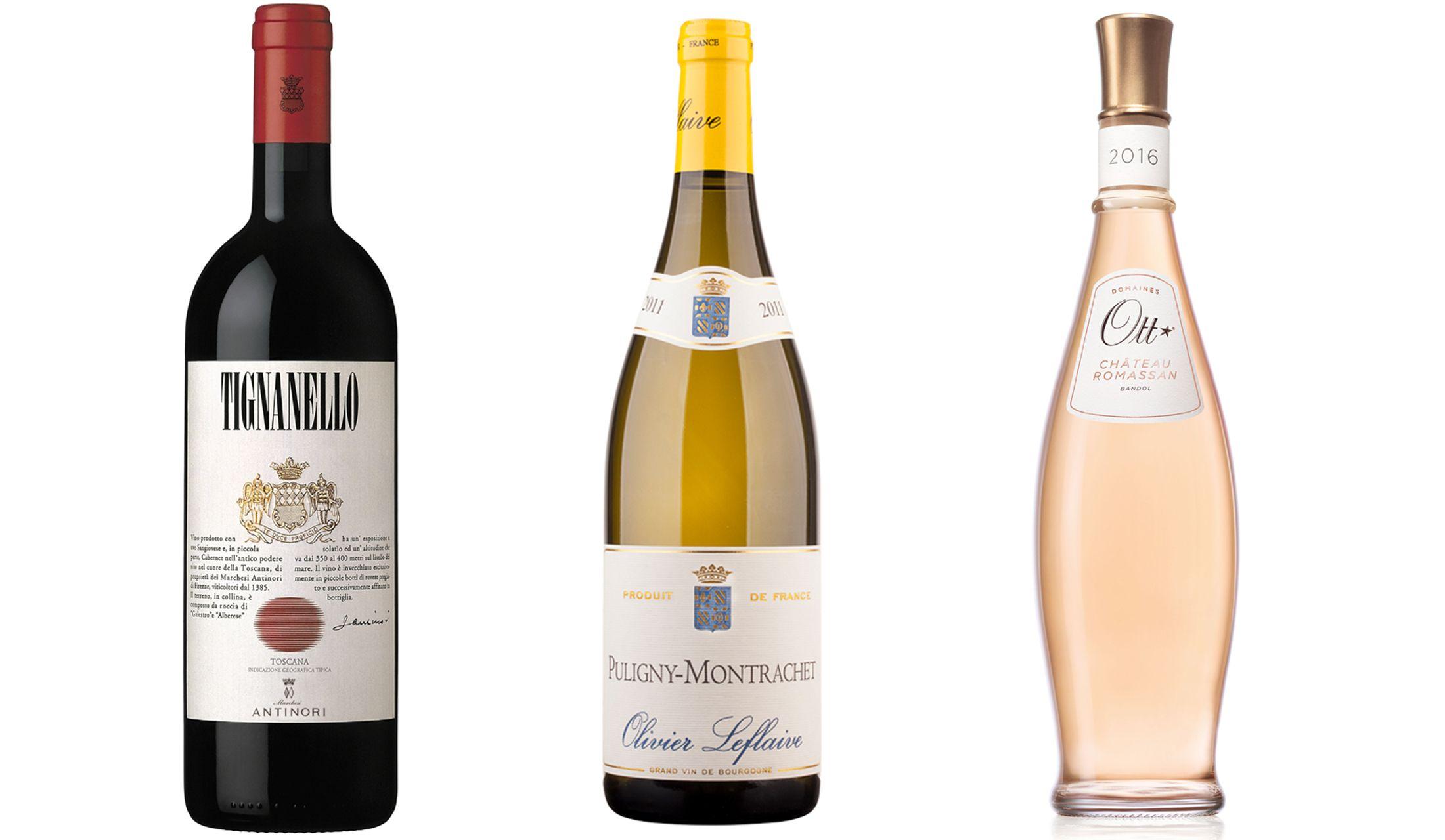 """名家アンティノリが手がける赤ワイン「ティニャネロ」と白ワインの名手が手掛ける白ワイン「ピュリニー・モンラッシェ」と、""""キング・オブ・ロゼ""""と称されるフランストップクラスのロゼワイン「バンドール・ロゼ・クール・ド・グレン・シャトー・ロマサン」"""