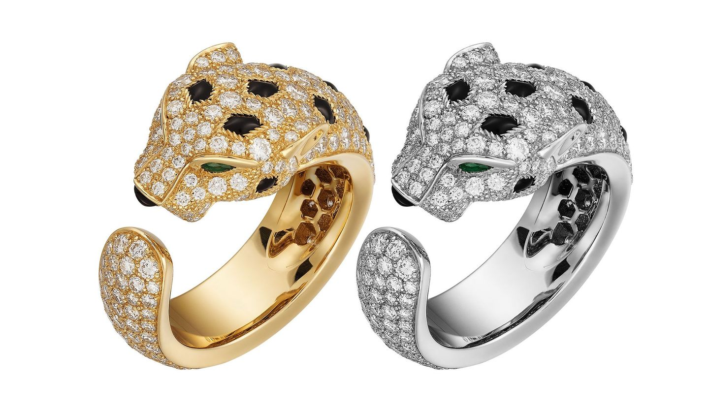 パンテール ドゥ カルティエ のダイヤモンドがあしらわれたリング