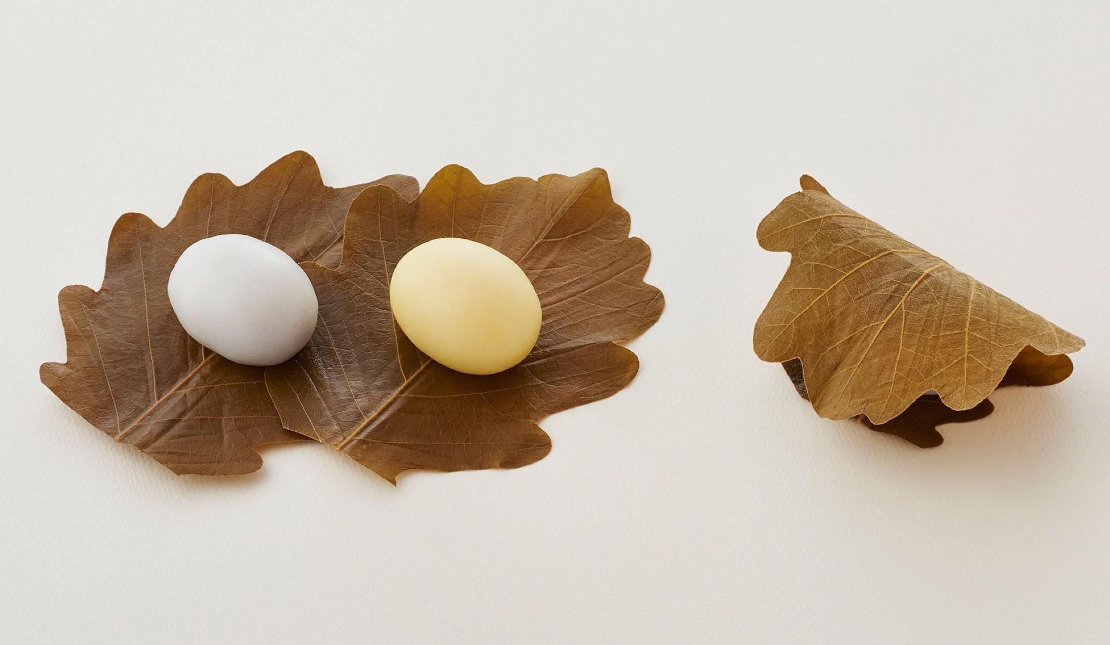 和菓子の老舗「とらや」が5月1日から発売する「羊羹粽」「水仙粽」「白下糖入外良粽」が並べられている