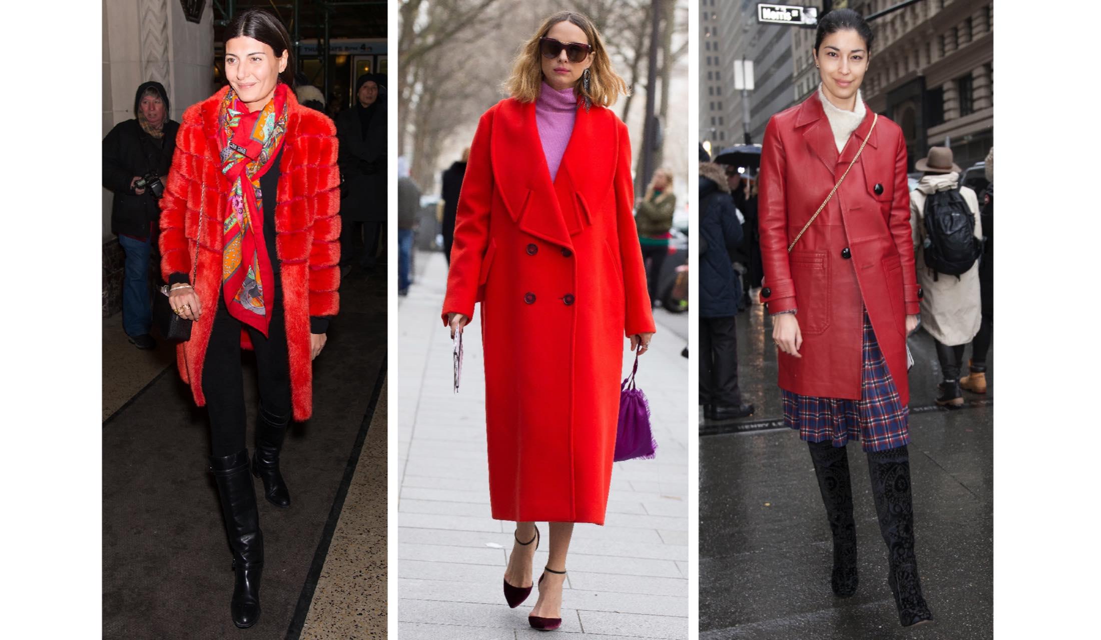 赤色のコートを着たおしゃれな海外セレブのスナップ写真