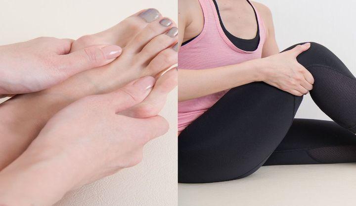 足指の間と膝裏をマッサージしている女性
