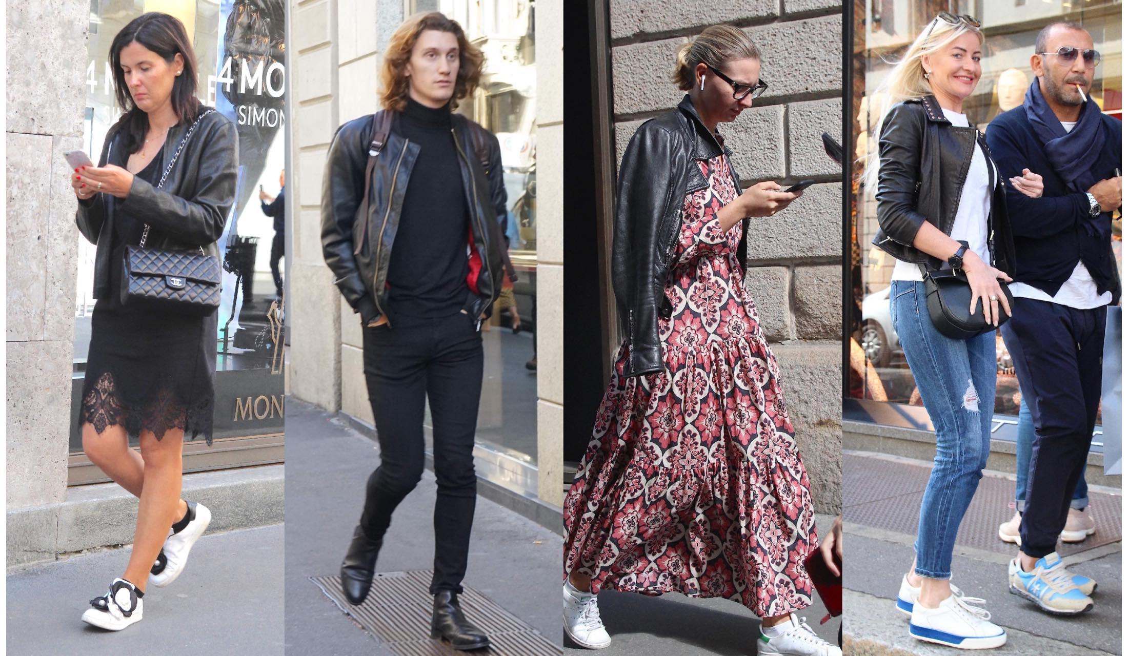 ブラックレザージャケットを着こなすミラノマダムのストリートスナップ写真